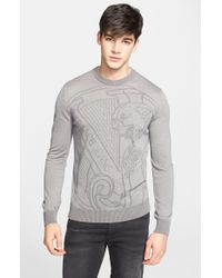 Versace Jeans - Gray Logo Jacquard Sweater for Men - Lyst