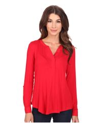NYDJ | Red Pleat Back Knit Combo Top | Lyst