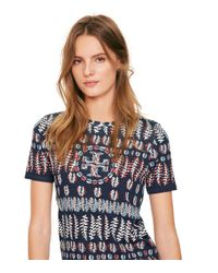 Tory Burch | Blue Printed Cotton Jersey T-shirt | Lyst