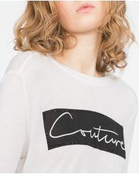Zara | Black Crop T-shirt With Text | Lyst