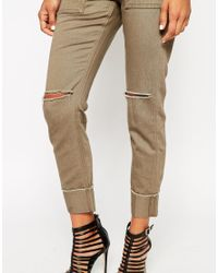 ASOS | Natural Cargo Skinny Trousers | Lyst