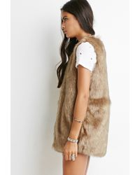 Forever 21 - Brown Faux Fur Vest - Lyst