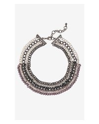 Express - Metallic Woven Pearl And Curb Chain Collar Necklace - Lyst