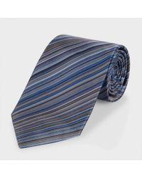 Paul Smith - Blue Navy Signature Stripe Classic Silk Tie for Men - Lyst
