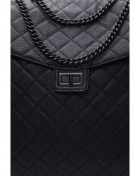 Forever 21 - Black Quilted Faux Leather Roller Bag - Lyst