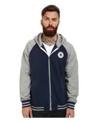 Converse - Blue Patch Hooded Baseball Jacket for Men - Lyst
