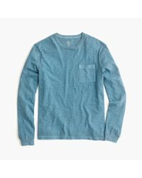 J.Crew | Blue Long-sleeve Garment-dyed T-shirt for Men | Lyst