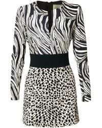 Fausto Puglisi - Black Contrasting Prints Fitted Dress - Lyst