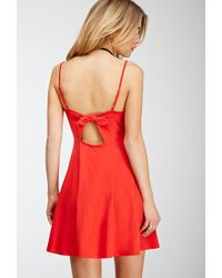 Forever 21 - Red Cutout Bow A-line Dress - Lyst