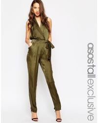 bace21025ee2 Lyst - ASOS Tall Utility Wrap Jumpsuit in Natural