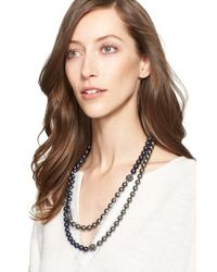 St. John | Black Two-tone Faux Pearl Double Strand Necklace | Lyst