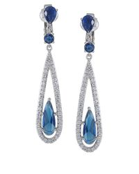 Carolee - Blue Crystal Linear Earrings - Lyst