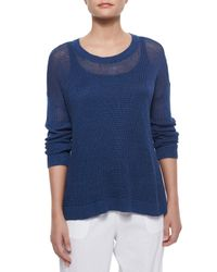 Eileen Fisher - Blue Airy Linen Box Top - Lyst