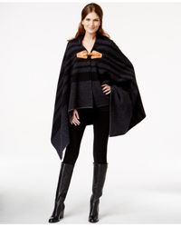 Woolrich - Gray Striped Buckled Cape Coat - Lyst