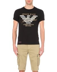 Armani Jeans | Luxury Edition Gold-text T-shirt, Men's, Size: S, 12 Black for Men | Lyst