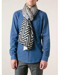 Pierre Louis Mascia - Blue Mixed Print Scarf - Lyst