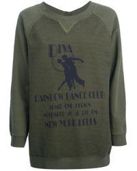 Erika Cavallini Semi Couture - Green Diva Printed Sweatshirt - Lyst