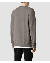AllSaints | Gray Comanchero Crew Sweater for Men | Lyst