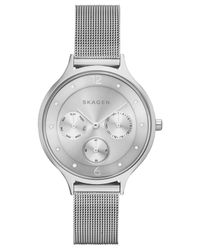 Skagen - Metallic Women's Anita Stainless Steel Mesh Bracelet Watch 36mm Skw2312 - Lyst