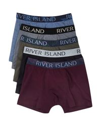 River Island - Blue Mixed Trunks Pack for Men - Lyst