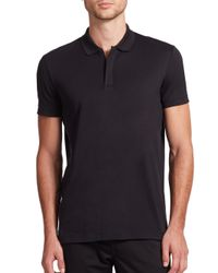 Theory - Black Zip Cotton Polo for Men - Lyst