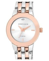 Anne Klein - Metallic Diamond Accent Bracelet Watch - Lyst