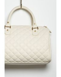 Forever 21 | Natural Quilted Faux Leather Satchel You've Been Added To The Waitlist | Lyst