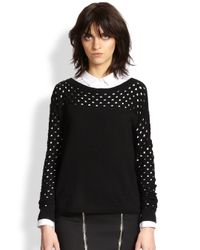 The Kooples - Black Perforated Wool Sweater - Lyst