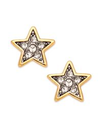 Juicy Couture - Metallic Goldtone and Crystal Pave Star Stud Earrings - Lyst