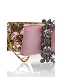 Dolce & Gabbana - Metallic Embellished Gold Collar With Pink Bow - Lyst