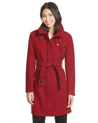 MICHAEL Michael Kors | Red Stand Collar Wool Blend Trench Coat | Lyst