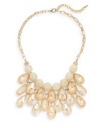 Cara - Metallic Beaded Briolette Bib Necklace - Lyst