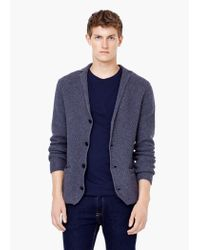 Mango - Blue Waffle-knit Wool-blend Cardigan for Men - Lyst