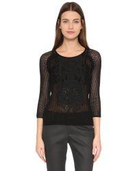 Tess Giberson | Black Mesh & Macrame Sweater | Lyst