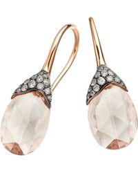 Astley Clarke - Pink Grey Diamond Morganite Teardrop Earrings - For Women - Lyst