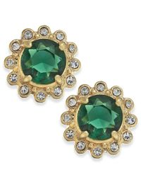 Lauren by Ralph Lauren | Metallic Gold-Tone Green Stone And Crystal Stud Earrings | Lyst