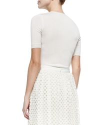Lela Rose - White Pearl-beaded Short-sleeve Sweater - Lyst