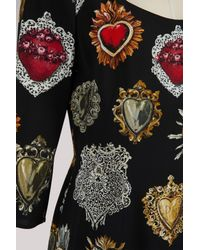Dolce & Gabbana - Black Hearts Print Midi Dress - Lyst