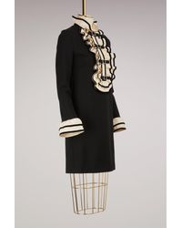 Gucci - Black Viscose Jersey Dress With Ruffles - Lyst