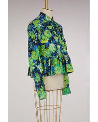 MSGM Green Printed Flowers Shirt With Ruffles