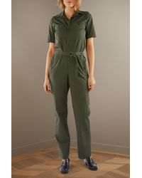 A.P.C. - Green Gina Cotton Jumpsuit - Lyst