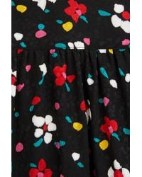Marc Jacobs - Black Painted Flower Silk Jacquard Tie Neck Long Sleeve Blouse - Lyst