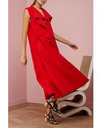 Maison Rabih Kayrouz - Red Lavallière Wool Dress - Lyst