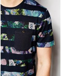 Ted Baker | Blue T-Shirt With Floral Stripe Print for Men | Lyst