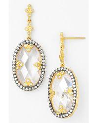Freida Rothman - Metallic 'metropolitan' Drop Earrings - Clear/ Gold - Lyst