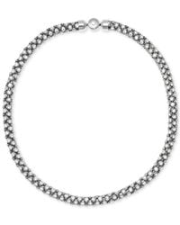 Michael Kors | Metallic Silver-tone Mesh Crystal Necklace | Lyst