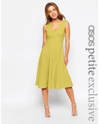 ASOS - Midi Dress In Texture - Green - Lyst