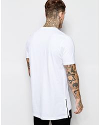 ASOS - White Longline T-shirt With Side Zips And Drop Hem for Men - Lyst