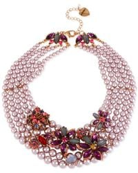 Betsey Johnson - Pink Rose Gold-tone Faux-pearl Multi-row Flower Torsade Necklace - Lyst