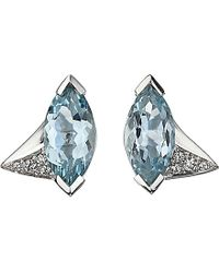 Shaun Leane | Blue Aerial 18ct White-gold, Marquise Aquamarine And Diamond Earrings | Lyst